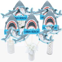 Shark Zone - Jawsome Shark Party or Birthday Party Centerpiece Sticks - Table Toppers - Set of 15