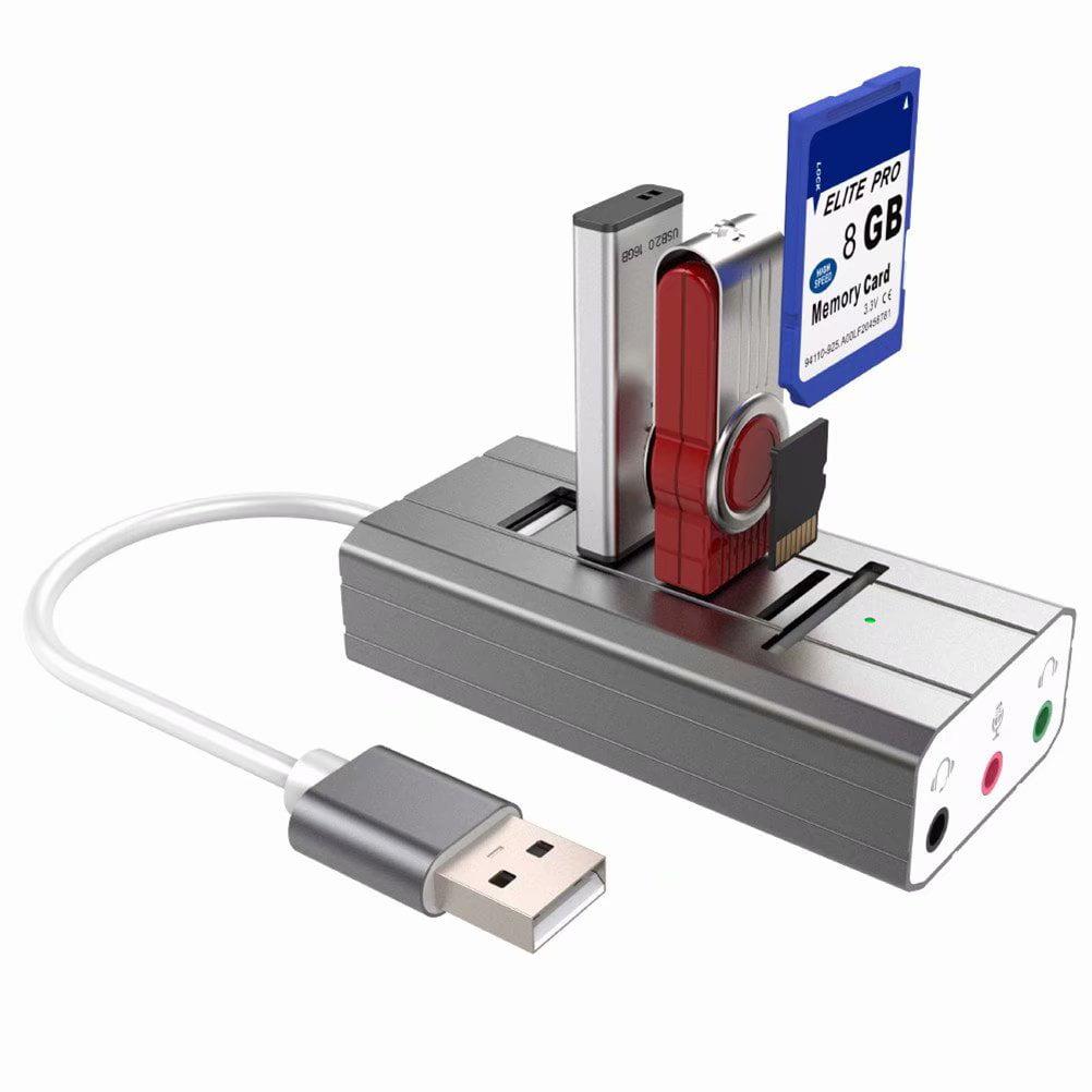 Mini 3 Port USB 2.0 Splitter Adapter Hub with 3 Audio Ports for PC Laptop Notebook Mac,Gray
