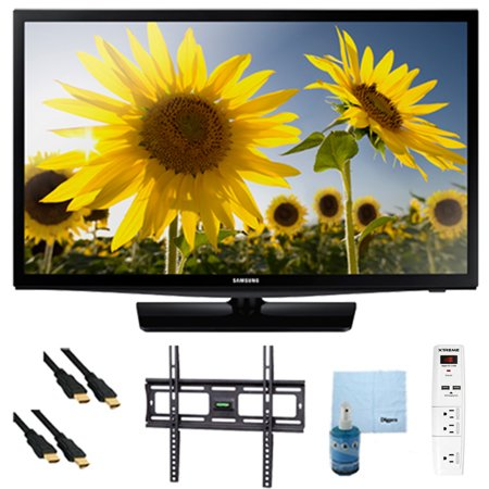 Samsung UN24H4000 – 24-inch 720p HD Slim LED TV CMR 120 Plus Bundle. Bundle Includes TV, Flat TV Mount, 3 Outlet Surge protector w/ 2 USB Ports, 2 -6 ft High Speed HDMI Cables, Performance TV/LCD Scre