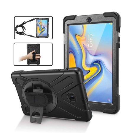 Galaxy Tab A 8.0 (2018) T387 SM-T387 Case by KIQ Shield Armor Cover Kickstand Palmstrap Screen Protector Shoulder Strap (Black) ()