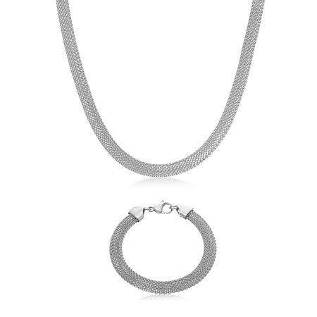 Flat Mesh Chain Necklace & Bracelet Set in Stainless (Chain Flap)