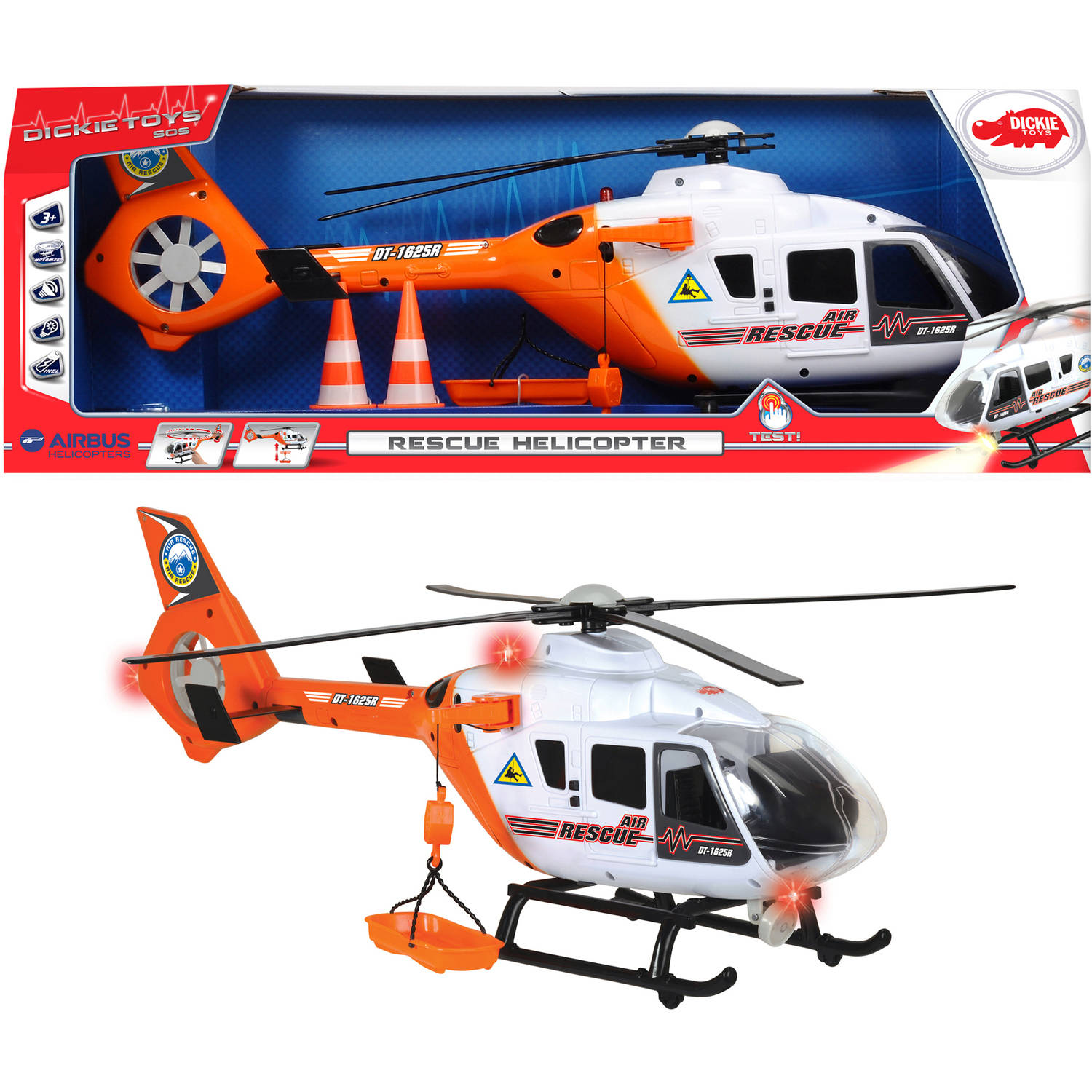 "Dickie Toys 25"" Light and Sound SOS Rescue Helicopter with Moving Rotor Blades"