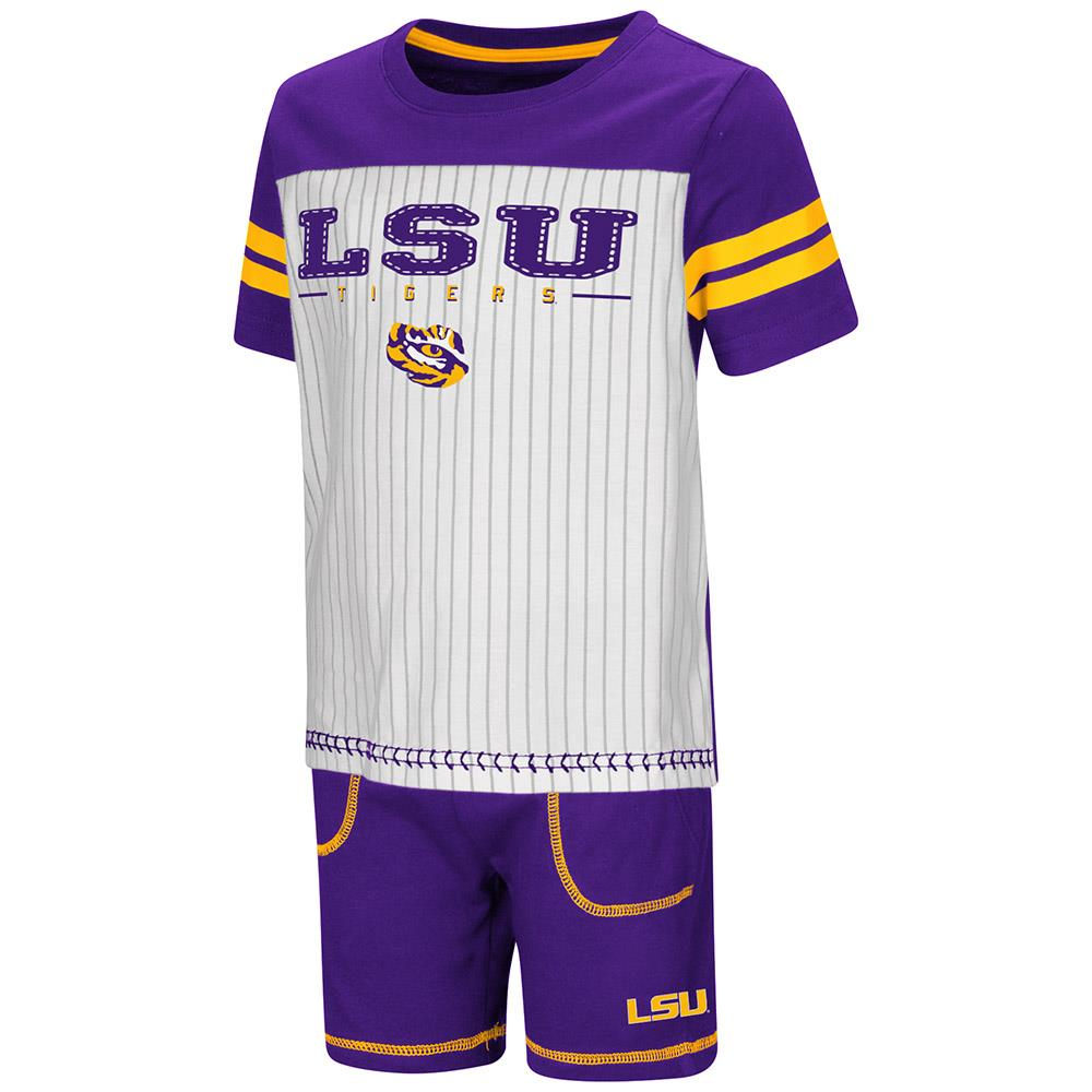 Toddler LSU Tigers Pinstripe Tee Shirt and Shorts Set - 2T - Walmart.com