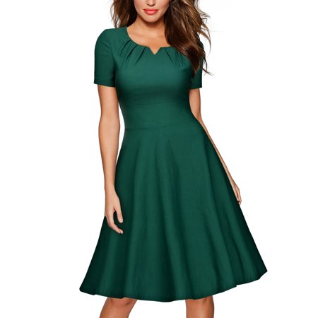 c1c43628650f Miusol - MIUSOL Women's Retro 1950s Short Sleeve A-Line Cocktail Party  Swing Dresses for Women (Green M) - Walmart.com