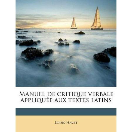 Manuel de Critique Verbale Applique Aux Textes Latins - image 1 de 1