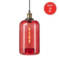 Southern Enterprises Coraline Colored Glass Mini Pendant Lamp in Red (Pack of 2)