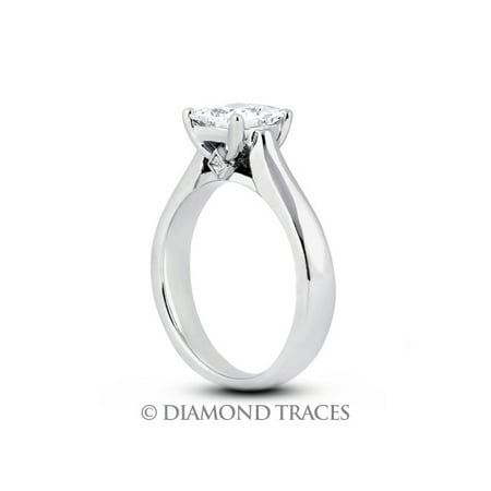 1.64ctw H-SI2 Ideal Cut Princess Genuine Diamonds 18k Gold Cathedral Ring -