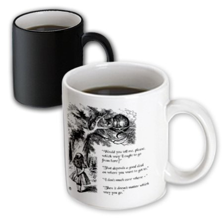 Alice In Wonderland Gifts (3dRose Which way ought I go from here Chesire cat - Alice in Wonderland quote, Magic Transforming Mug,)
