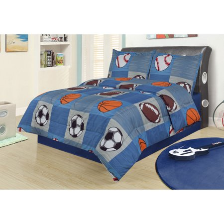 Full 3 Piece Bedding Comforter Set, Sports Football Basketball Soccer Baseball