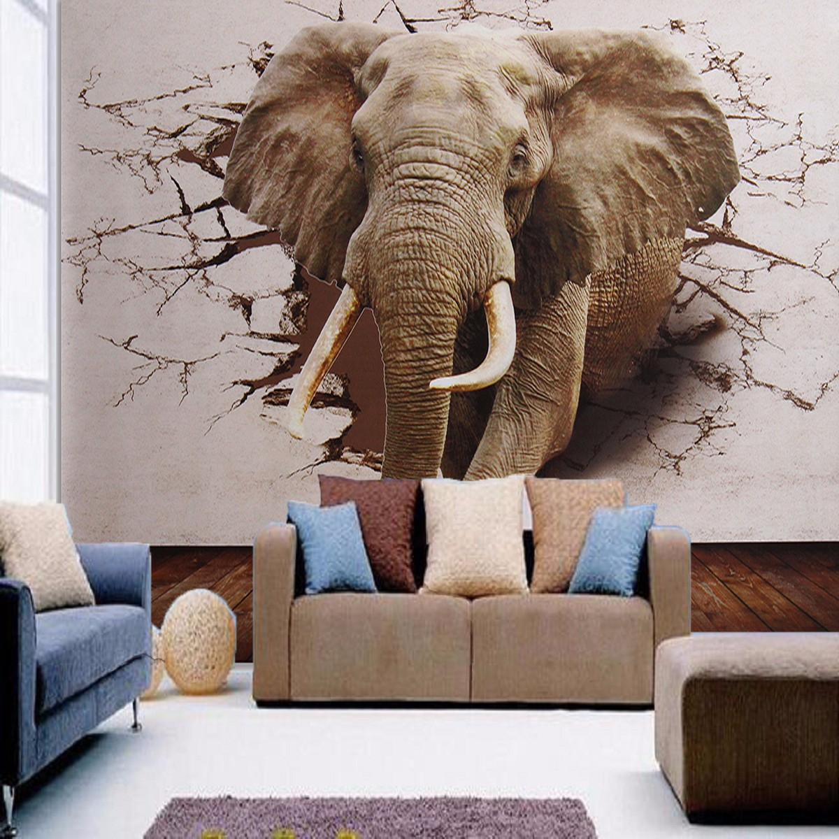 3D Large Elephant Walk Wallpapers Wall Sticker Square Non Woven Home Wall Murals Decoration