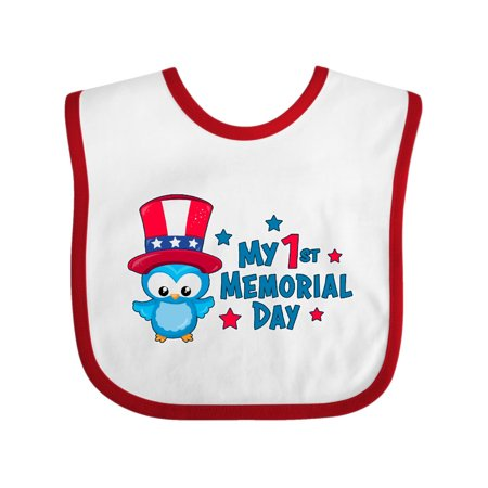 My 1st Memorial Day with Owl Baby Bib White/Red One Size