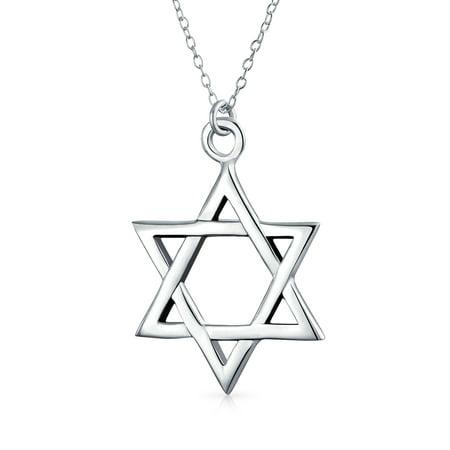 Simple Basic Hanukkah Star Of David Magen Jewish Pendant Necklace For Women For Men High Polish 925 Sterling Silver (Silver Polished Star Pendant)
