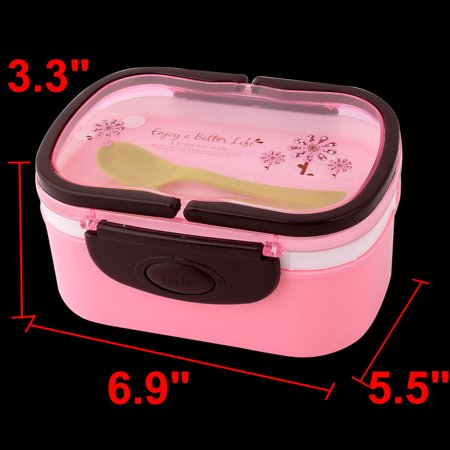 Household Outdoor Plastic Flower Pattern Handle Food Container Lunch Box Pink - image 3 de 4