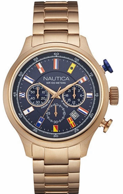 Men's Nautica Chronograph Rose Gold Band Watch NAD21507G by Nautica