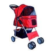 New MTN-G Deluxe Folding 4 Wheel Pet Dog Cat Stroller Carrier w Cup Holder Tray - Red