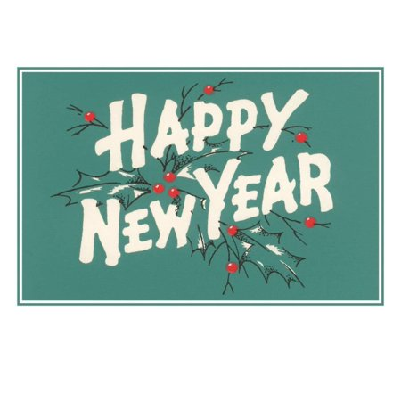 Happy New Year Art - Happy New Year, Holly on Blue-Gray Background Print Wall Art
