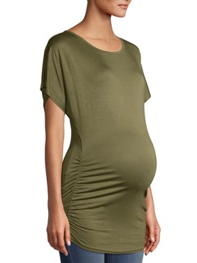 Maternity Oh! Mamma T-shirt with Slouchy Scoop Neck and Ruching (Available in Plus Sizes)