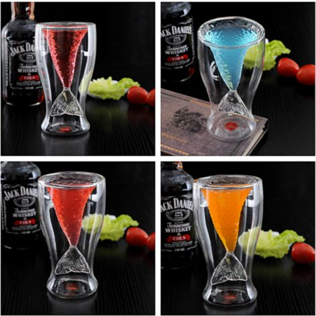 1 Pack Creative Personality Mermaid Handmade Glass Cup Ice Cream Cup Double High-temperature Glass of Red Wine (Color Red 1 Glass Filter)