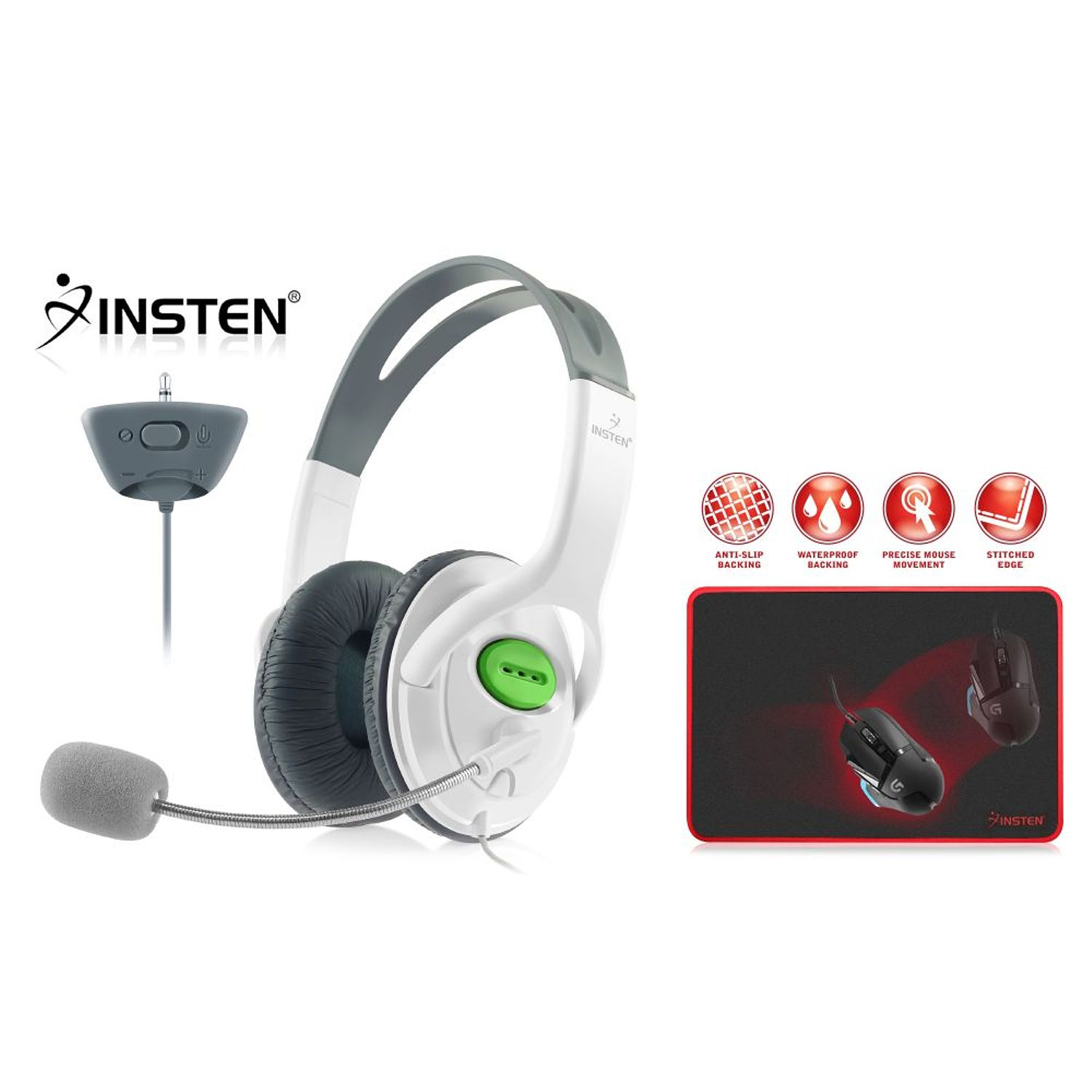 "Xbox 360 Headset with Mic Xbox 360 Headphone by Insten Gaming Headset with Mic For Microsoft Xbox 360 / Xbox 360 Slim (Live Chat Microphone) + Gaming Mouse Pad Mat (13.8 x 10.2"")"