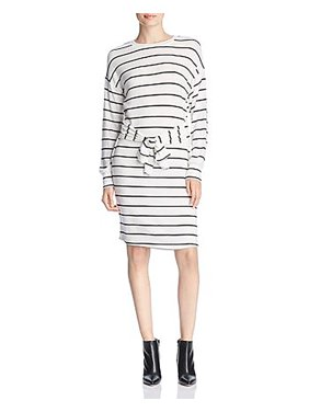 Alison Andrews | Brushed Knit Tie Front Sweaterdress | White/Black