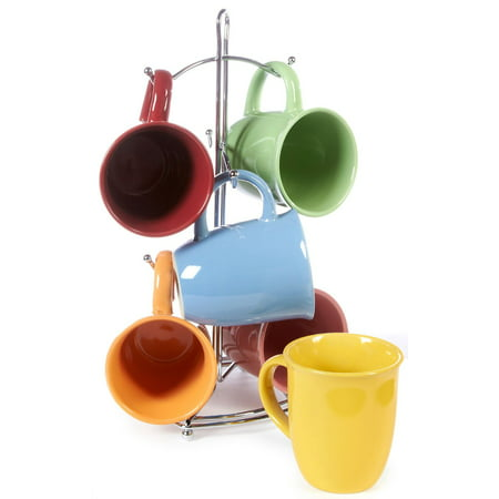 Gibson set of 6 Color Coffee Mugs and Convenient Wire (Best Coffee Mug Thing Coffee Mugs)