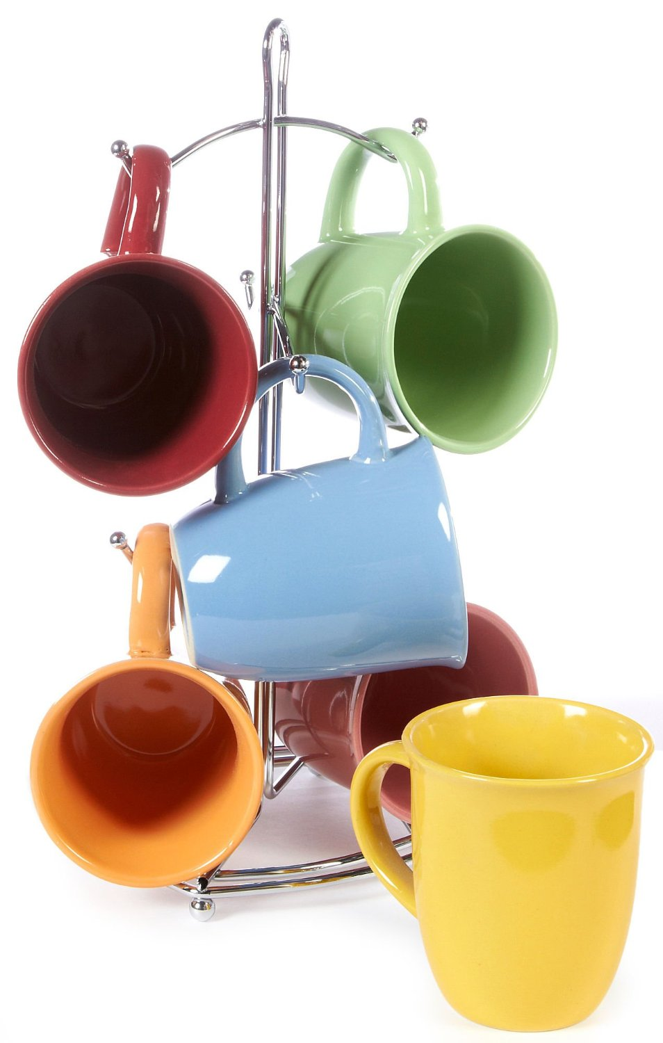 gibson 7 piece color coffee mug set