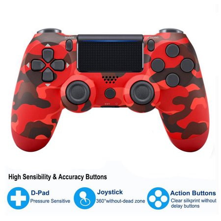 Wireless PS4 Controller Bluetooth Gamepad Joystick For 4 Game Console PC Steam Color:Camouflage red - image 4 de 8