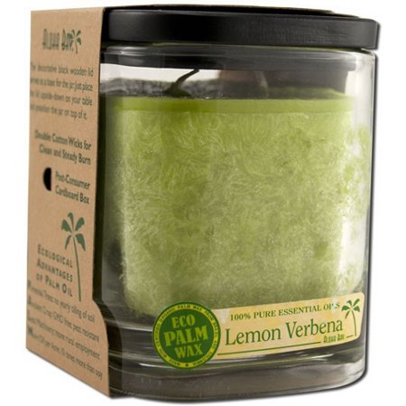 Aloha Bay Eco Palm Square Jar Candles, Lemon Verbena Melon - 8