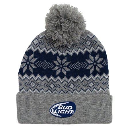 f76b49b0432 Budweiser - Budweiser Bud Light Logo Snowflake Adult Pom Cuffed Beanie  Winter Knit Hat - Walmart.com