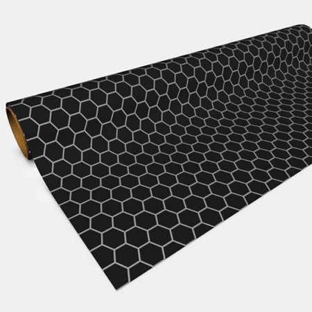 Black 1in Hexes Gaming Paper 30in x 12ft Roll Color Gaming Paper