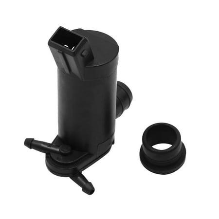 Plasitc 2 Terminal Windshield Wiper Washer Fluid Pump w Grommet for (Wiper Fluid Bottle)