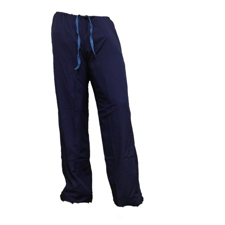 Men's Surgical Scrubs Pants, Light Blue/Navy Blue Surgeon Nurse Hospital Bottoms