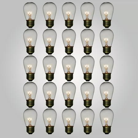 Fantado Clear 11-Watt S14 Sign Light Bulbs, E26 Medium Base (25 PACK) by PaperLanternStore