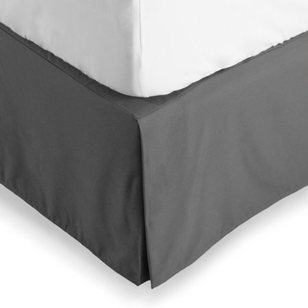 Bare Home Bed Skirt Double Brushed Premium Microfiber, 15-Inch Tailored Drop Pleated Dust Ruffle, 1800 Ultra-Soft, Shrink and Fade Resistant (Queen, Gray)