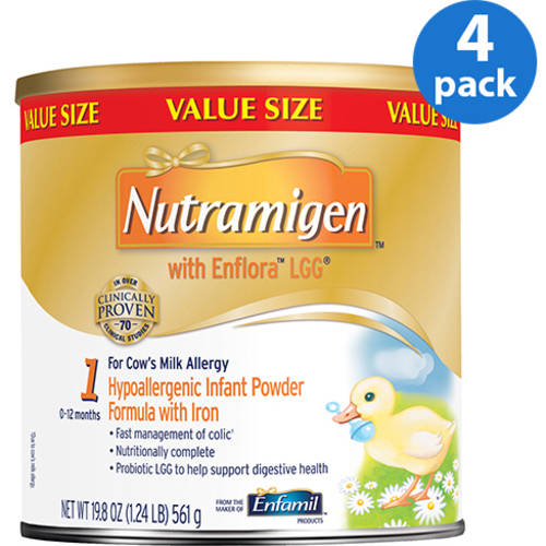 Nutramigen with Enflora LGG baby formula ��� 19.8 oz Powder can, Pack of 4
