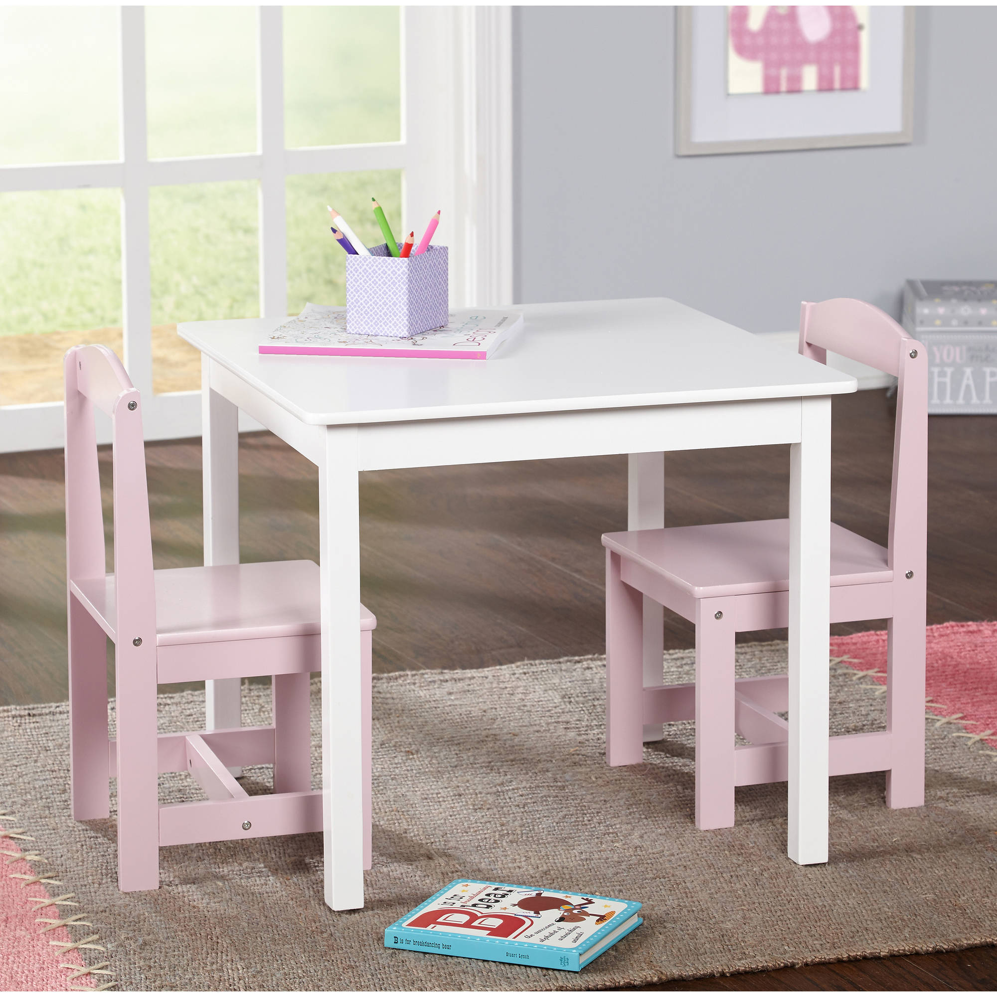 Hayden Kids 3-Piece Table and Chair Set, Multiple Colors