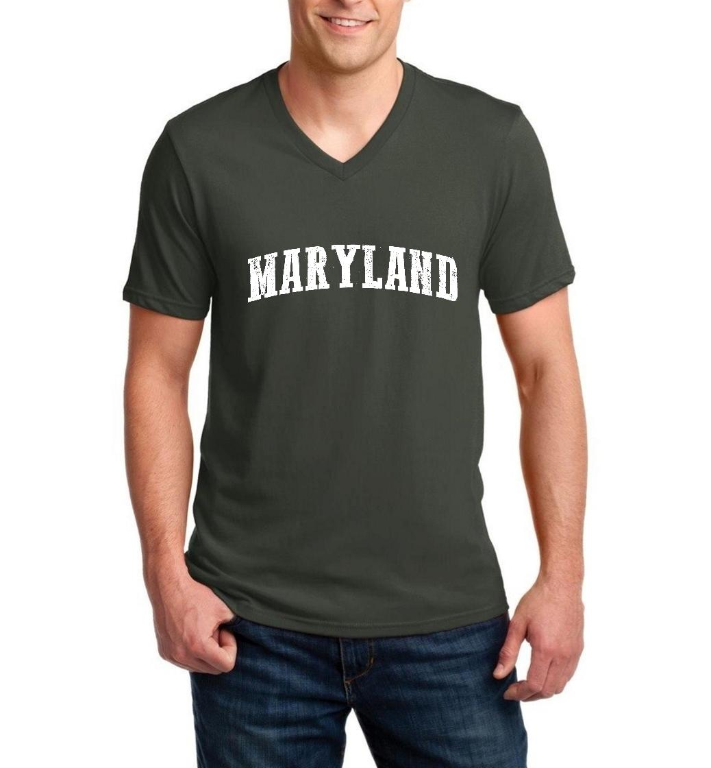 J_H_I MD Maryland Map Baltimore Flag Terrapins Terps Home University of Maryland  Men V-Neck Shirts Ringspun