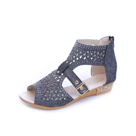 Women Gladiator Wedges Sandals Leather Zipper Hollow High Heels Summer Shoes