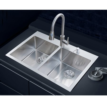 Stufurhome NW-3322DO Double Basin Overmount Kitchen Sink - Walmart.com