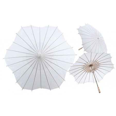 Koyal Wholesale 32-Inch White Scallop Paper Parasol, 4-Pack Oriental Umbrella for Wedding, Party Favors, Summer  Shade](Party Supply Wholesale Miami)