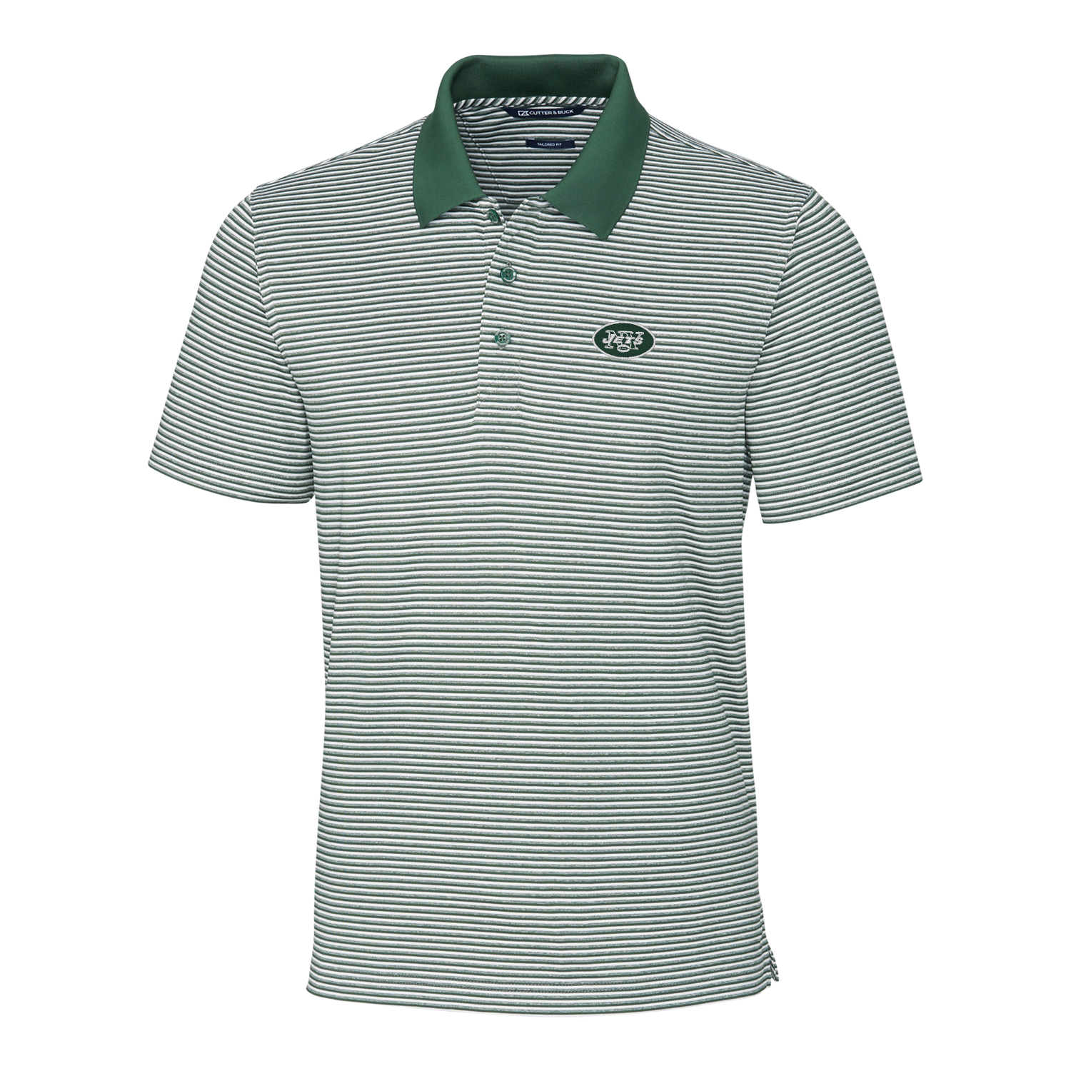 New York Jets Cutter & Buck Forge Tonal Stripe Tailored Fit Polo - Green