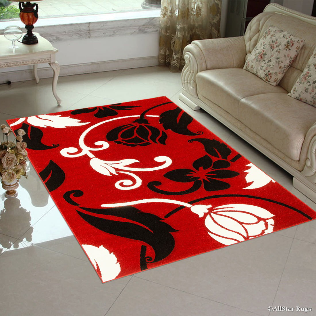 """Red Allstar with Black and White Floral Design Modern Geometric Area Rug (3' 9"""" x 5'... by"""