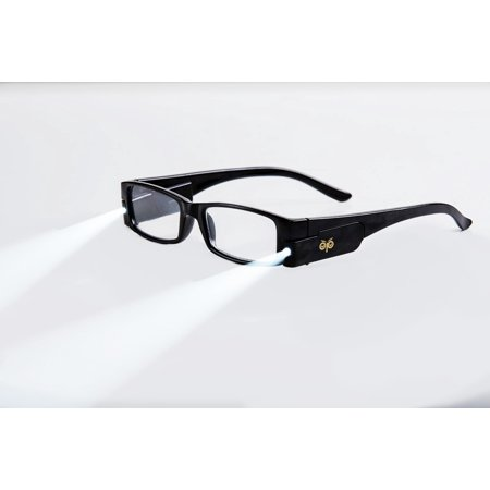 +3.5 Power Strength Eyeglass LED Reading Glasses Black L Optic By Finess - Glasses With Led