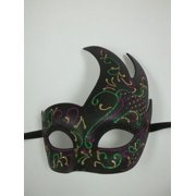 Black Purple Green Gold Masquerade Swirl Flame Mask Mardi Gras Ball Dance Prom