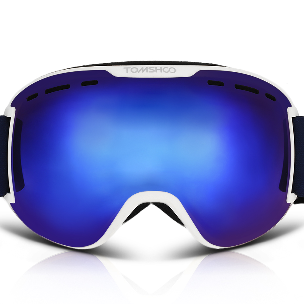 TOMSHOO Ventilated Anti-fog Anti-UV Snowmobile Skiing Skating Goggles Spherical Dual Lens Detachable Strap Goggles by