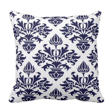 Rylablue Victorian Vintage Navy Blue Large Floral Damask White Monogram Pillowcase Cover 16x16 Inch Walmart Canada