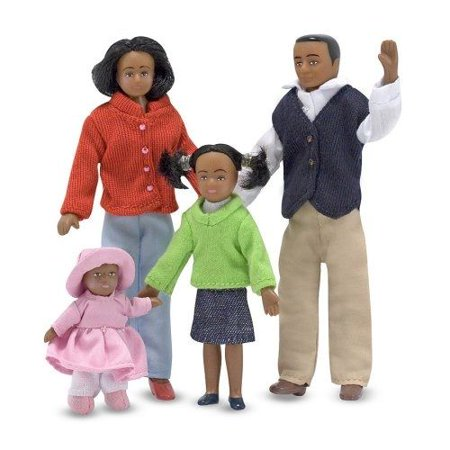 Melissa & Doug Doll Clothing - Melissa & Doug 1:12 Scale Doll Family (African American) With Mother, Father, Sister, Baby