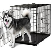 """OxGord 48"""" Heavy Duty Foldable Double Door Dog Crate with Divider and Removable ABS Plastic Tray, 48"""" x 29"""" x 32"""""""