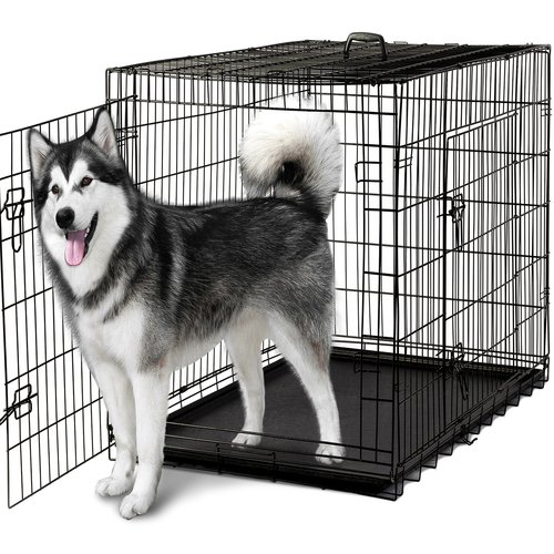 "OxGord 48"" Heavy Duty Foldable Double Door Dog Crate with Divider and Removable ABS Plastic Tray, 48"" x 29"" x 32"""