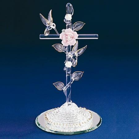 Cross with Hummingbird Glass Figurine - Perfect Religious Gift